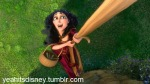 Mother Gothel climbs Rapunzel's hair. (thrown in for the Mother Gothel fans)